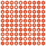 100 gear icons hexagon orange. 100 gear icons set in orange hexagon isolated vector illustration Stock Images