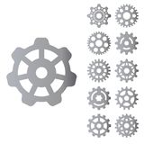 Gear icons silhouette isolated engine wheel equipment machinery element vector illustration. royalty free illustration