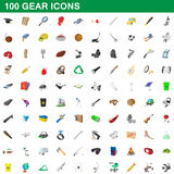 100 gear icons set, cartoon style. 100 gear icons set in cartoon style for any design vector illustration Royalty Free Stock Photos