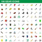 100 gear icons set, cartoon style. 100 gear icons set in cartoon style for any design illustration royalty free illustration
