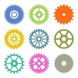 Gear Icons Set in Flat Design colors. Vector Royalty Free Stock Photo