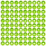 100 gear icons set green circle. Isolated on white background vector illustration Stock Photography