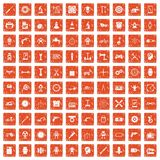 100 gear icons set grunge orange. 100 gear icons set in grunge style orange color isolated on white background vector illustration Stock Image