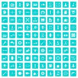 100 gear icons set grunge blue. 100 gear icons set in grunge style blue color isolated on white background vector illustration Stock Illustration