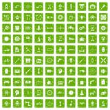 100 gear icons set grunge green. 100 gear icons set in grunge style green color isolated on white background vector illustration Royalty Free Stock Photo