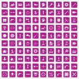 100 gear icons set grunge pink. 100 gear icons set in grunge style pink color isolated on white background vector illustration Stock Photography