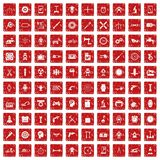 100 gear icons set grunge red Stock Image