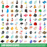 100 gear icons set, isometric 3d style Royalty Free Stock Photos
