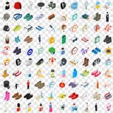 100 gear icons set, isometric 3d style Stock Images