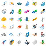 Gear icons set, isometric style. Gear icons set. Isometric style of 36 gear vector icons for web isolated on white background Royalty Free Stock Photography