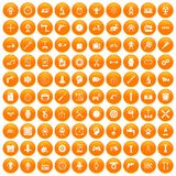 100 gear icons set orange. 100 gear icons set in orange circle isolated on white vector illustration royalty free illustration
