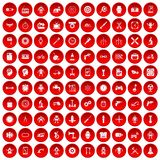 100 gear icons set red Stock Photos