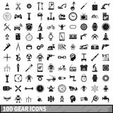 100 gear icons set, simple style Stock Images