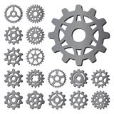 Gear icons silhouette isolated engine wheel equipment machinery element vector illustration. stock illustration