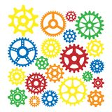 Gear icons silhouette isolated engine wheel equipment machinery element vector illustration. vector illustration