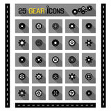 Gear icons. 25 gear icons symbol vector set Royalty Free Stock Photos