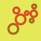 Gear. Illustration with seven gears on a yellow background Royalty Free Stock Photography