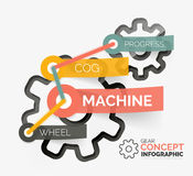 Gear infographic concept with tag connection Stock Images