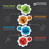 Gear infographic. Flat design. Vector illustration. Can be used for layout, web design, cover design, brochure, flyer, leaflet, template, diagram, number Royalty Free Stock Photo