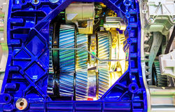 Gear inside the internal combustion engine of car closeup. Gear inside the internal combustion engine closeup stock photography