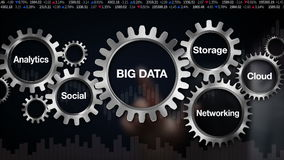 Gear with keyword, Analytics, Social, Storage, Cloud , Networking, Businessman touch screen 'BIG DATA'