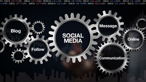 Gear with keyword, Blog, Follow, Communication, Message, Online. Businessman touch screen 'Social Media'