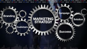 Gear with keyword, Branding, Solution,Customers, Campaign, Success. Businessman touching 'Marketing Strategy'