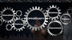 Gear with keyword, Business, Challenge, Innovation, Improvement, Success, Businessman touch screen 'OPPORTUNITY'. Businessman touching gears, and typo stock video footage