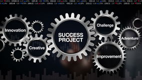 Gear with keyword, challenge, innovation, creative, adventure, improvement. Businessman touch screen 'SUCCESS PROJECT'