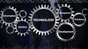 Gear with keyword, information management development system, solutions. Businessman touching 'Technology'