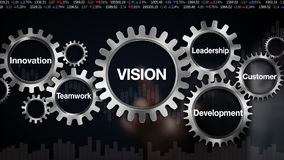 Gear with keyword, Innovation, Development, Teamwork, Leadership, Customer. Businessman touch screen 'VISION'
