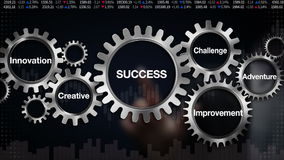 Gear with keyword, Innovation, Creative, Adventure, Improvement, challenge, Businessman touch screen 'SUCCESS'