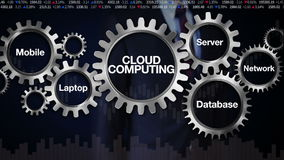 Gear with keyword, Mobile, Laptop, Server, Network, Database. Businessman touching screen 'CLOUD COMPUTING' vector illustration