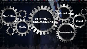 Gear with keyword, On-Offline, Media, Brand, Marketing, Communication. Businessman touching screen 'CUSTOMER ENGAGEMENT'. Businessman touching stock video footage