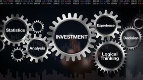 Gear with keyword,Statistics, Analysis, Logical thinking, Experience, Decision. Businessman touch screen 'INVESTMENT'