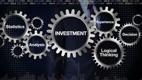 Gear with keyword,Statistics, Analysis, Logical thinking, Experience, Decision. Businessman touching 'INVESTMENT' royalty free illustration