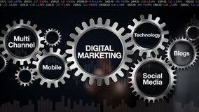 Gear with keyword, Technology, Blogs, Social media, Multi channel, Mobile, Businessman touch screen 'DIGITAL MARKETING'