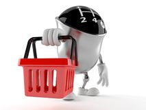 Gear knob character holding shopping basket Royalty Free Stock Image