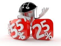 Gear knob character with percent symbols vector illustration