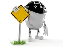 Gear knob character with road sign Stock Image