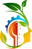 Gear leaf face logo. With  backgroun Stock Photo