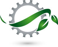 Gear and Leaves, Plant, Mechanic and Locksmith Logo Royalty Free Stock Image