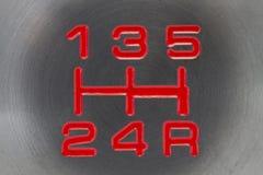 Gear Lever. Gun metal coloured automotive manual gear shift knob royalty free stock photography