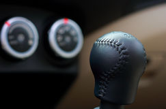 Gear lever. With indicator gauges stock photos
