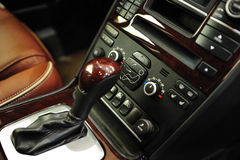 Manual car gear lever. Angle view of a manual gear lever from a luxury car stock photo