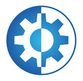 Gear logo. Rounded gear logo in blue Royalty Free Stock Image