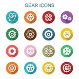 Gear long shadow icons Stock Image