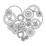 Gear love heart. Isolated on white background Royalty Free Stock Images
