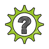 Gear machine with question isolated icon Royalty Free Stock Photography