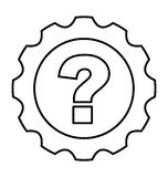Gear machine with question isolated icon Royalty Free Stock Images